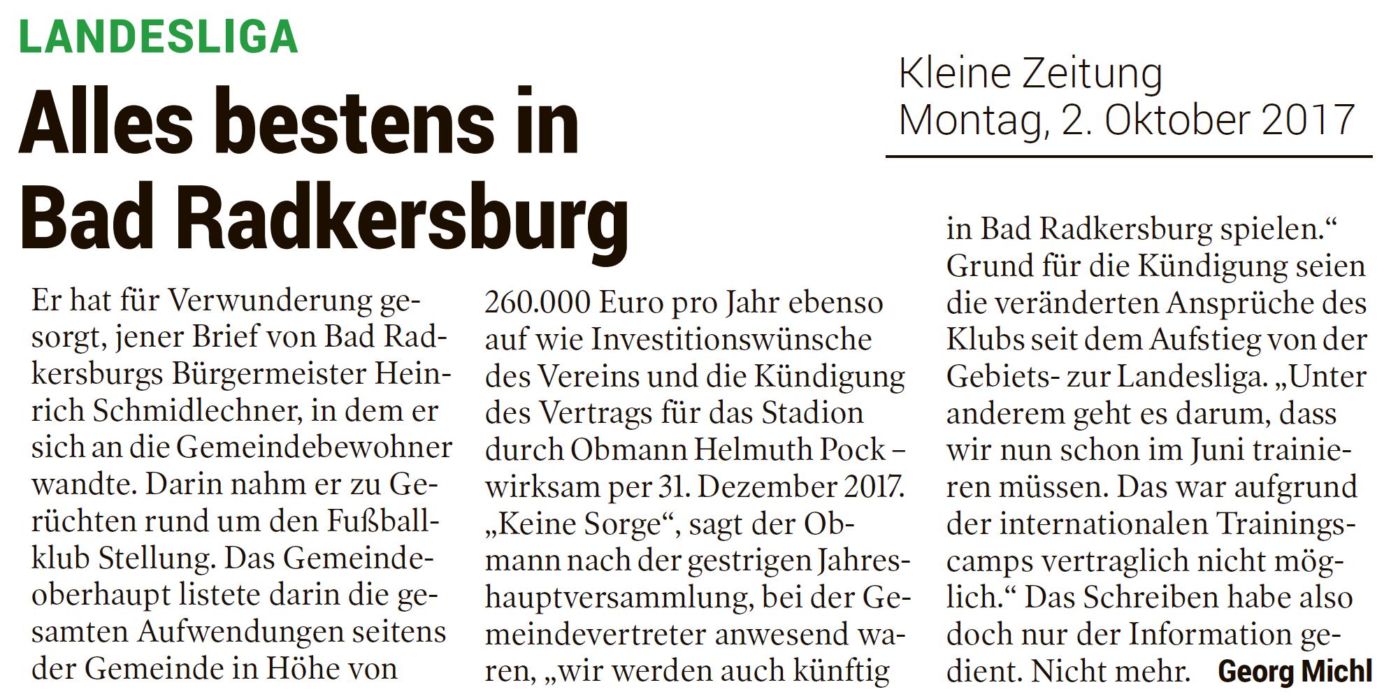 Fast alles bestens beim FC Bad Radkersburg | Steirische Landesliga ...